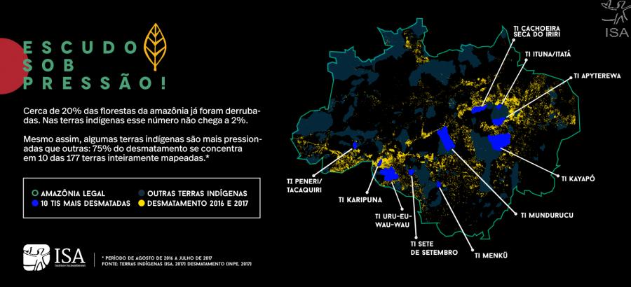 Localização das TIs mais desmatadas no período